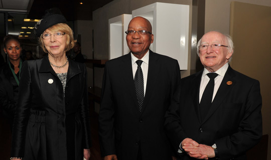 The President and Mrs. Higgins with South African President Jacob Zuma at the memorial service for the late President Emeritus Nelson Mandela, December 2013.