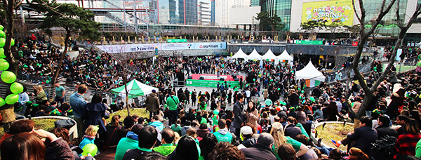 Crowds gather in Seoul for the annual St. Patrick's Day Festival