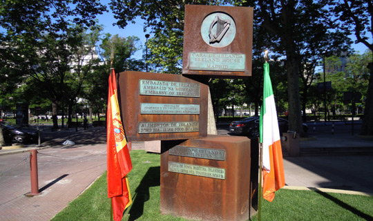 Flags outside the Embassy of Ireland Spain