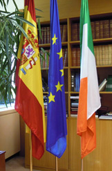 The EU, Ireland and Spanish flags