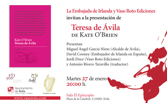 Flyer advertisement for Teresa de Ávila by Kate O'Brien