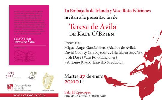 Flyer advertisement for Teresa de Ávila by Kate O'Brien