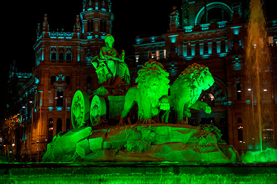 The greening of the Cibeles for St. Patricks Day