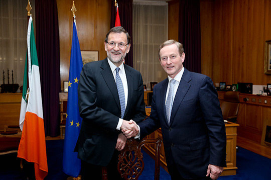 Spanish Prime Minister meeting with An Taoiseach Enda Kenny in Government Buildings.  Pic shows Taoiseach Enda Kenny meeting with the Spanish Prime Minister Mariano Rajoy in Government Buildings where the two held talks. Pic Maxwell's 06/03/2014