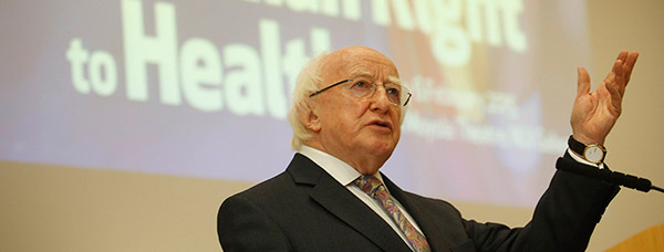 The Human Right to Health Conference. Michael D Higgins speaking at NUI Galway.Photo by Aengus McMahon