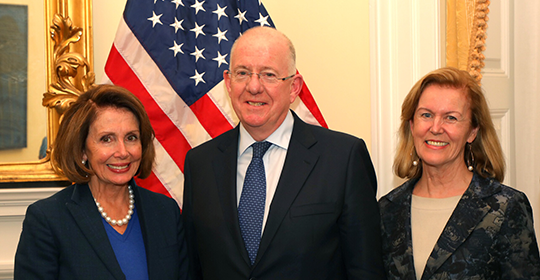 Minister Flanagan with Nancy Pelosi and Ambassador Anderson