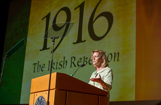 "Ambassador Anne Anderson addressing the guests at the gala premiere of ""1916: The Irish Rebellion"", Notre Dame University, 3 March 2016."