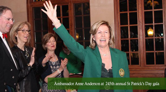 Ambassador Anne Anderson welcomed as the first female honorary member Friendly Sons of St Patrick