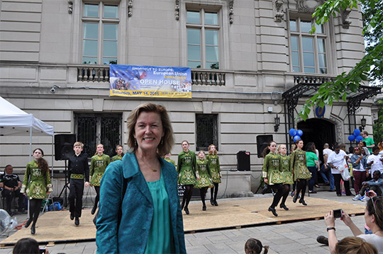 Ambassador Anne Anderson photographed in front of Irish dancers outside the Embassy of Ireland, Washington DC, 14 May 2016