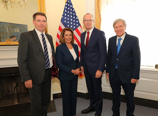 Minister Coveney with Pelosi, the Ambassador and Deputy Deasy