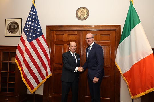 Minister Coveney with US Commerce Secretary Wilbur Ross