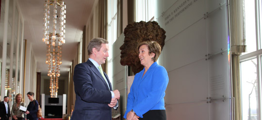 Taoiseach Enda Kenny and Kennedy Center President Deborah Rutter. Photo taken 16 March 2015