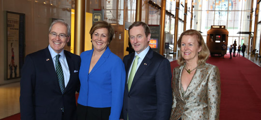US Ambassador to Ireland Kevin O'Malley, Kennedy Center President Deborah Rutter, Taoiseach Enda Kenny, and Irish Ambassador to the US Anne Anderson. Photo taken 16 March 2015.