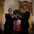 An Taoiseach Enda Kenny presenting the Shamrock to President Obama on St. Patrick's Day