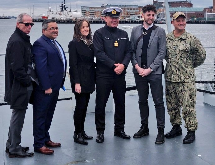 Staff from the Irish Consulate-General, Boston aboard the LÉ Samuel Beckett during its visit to the city
