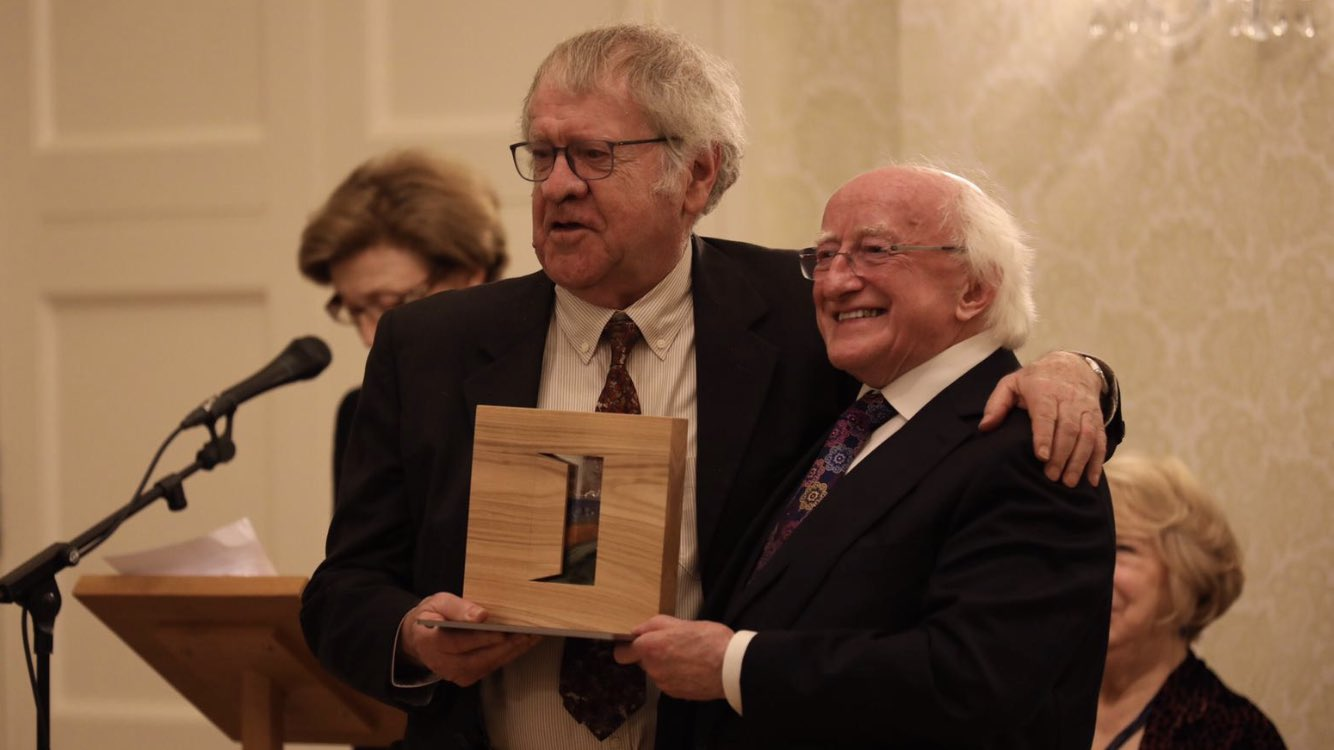 President Higgins with Author and PDSA recipient Ian Gibson