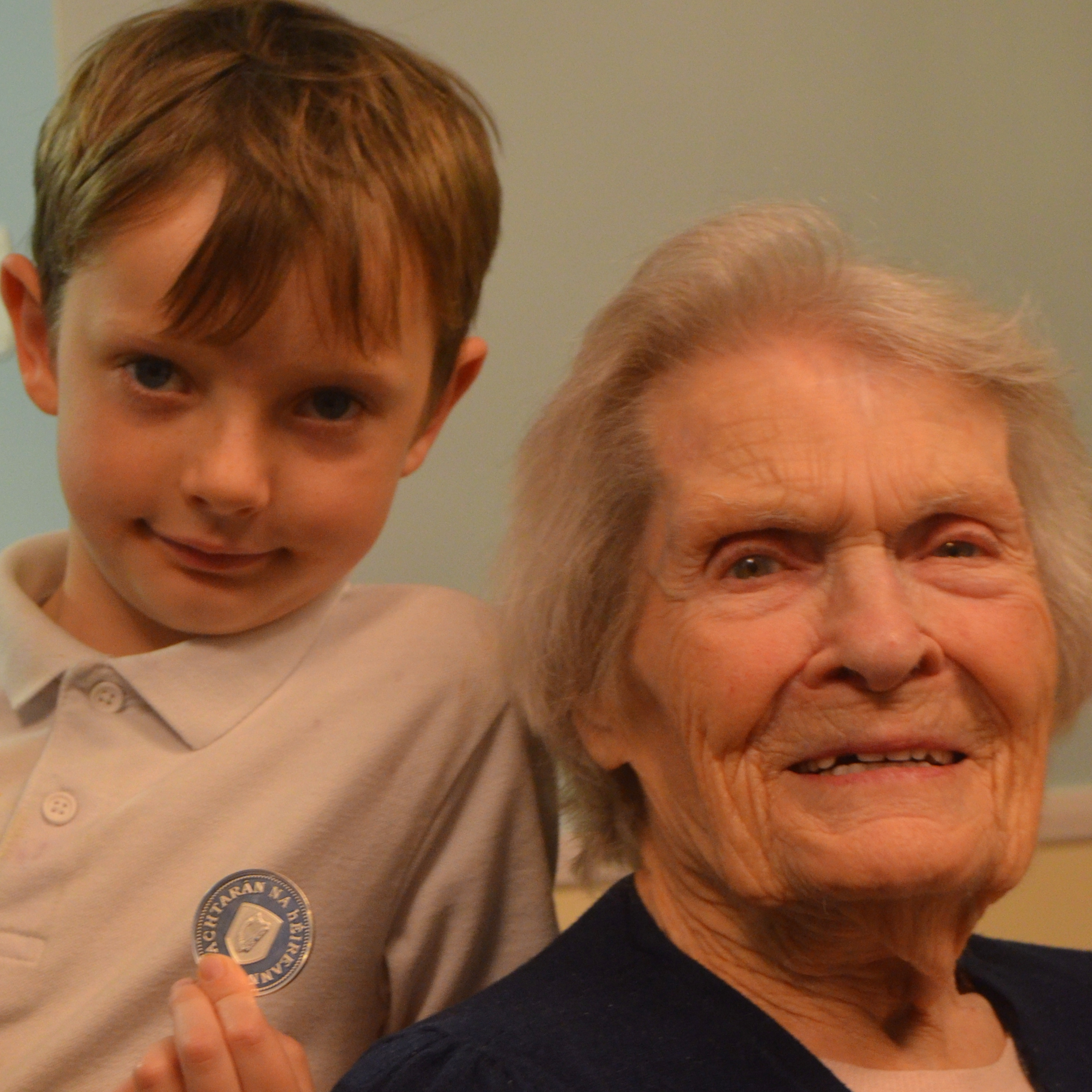 Centenarian bounty recipient Sarah Jane Hughes with her great great grandson
