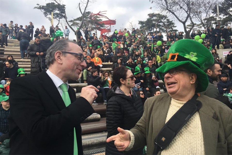 Ambassador Julian Clare at the St Patrick's Day festivities in Seoul, South Korea