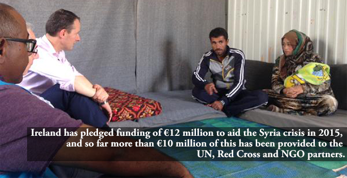 Ireland has pledged funding of €12 million to aid the Syria crisis in 2015, and so far more than €10 million of this has been provided to the UN, Red Cross and NGO partners.