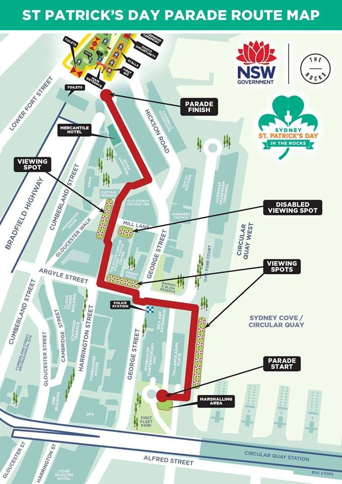 Sydney St. Patricks Day Parade Route Map