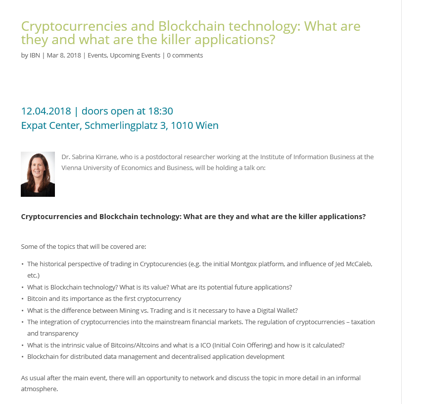 IBN Event: Cryptocurrencies and Blockchain Technology