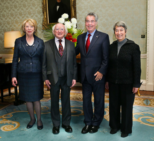 President Fischer and Mrs Margrit Fischer welcomed by President Higgins and Wife Sabina. Photo Credit: Maxwells.