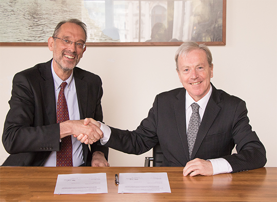 Pictured is Heinz Faßmann Vice-Rector for Research and International Affairs at the University of Vienna and Ambassador Tom Hanney. Credit: University of Austria.
