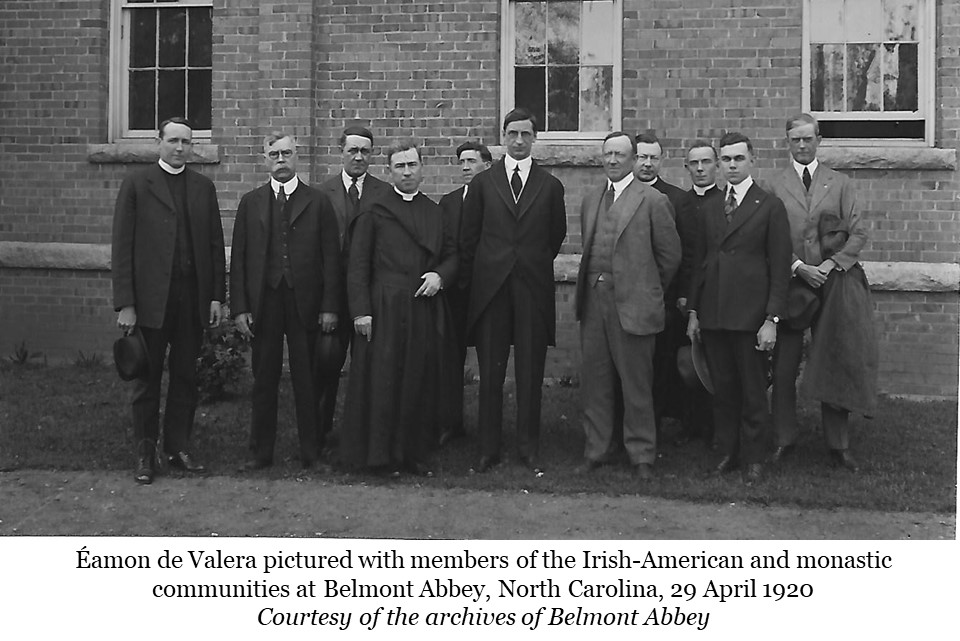 Eamon De Valera pictured with members of Irish American and monastic communities at Belmont Abbey, North Carolina. 29 April 1920