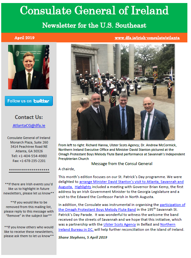 Front page of our April 2019 Newsletter