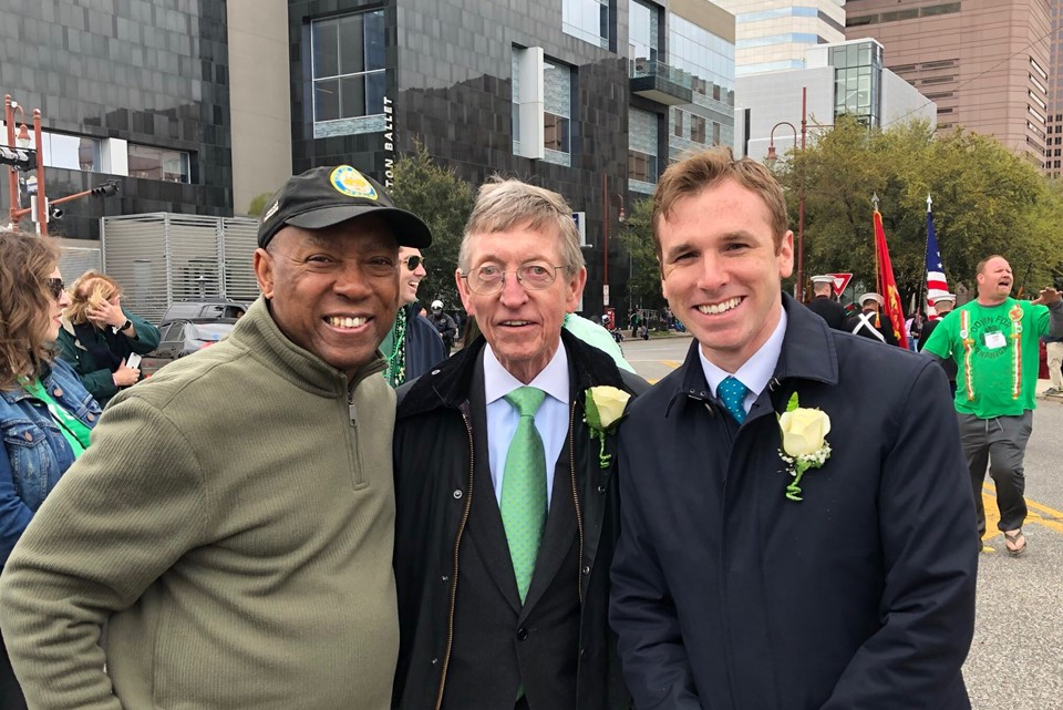 Mayor of Houston Sylvester Turner, Honorary Consul John Kane, and Vice Consul Paul Breen at the St Patrick's Day Parade in Houston, Texas on 16 March, 2019.