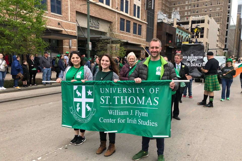 The William J. Flynn Center for Irish Studies at the University of St. Thomas at the St Patrick's Day Parade in Houston, Texas on 16 March, 2019.