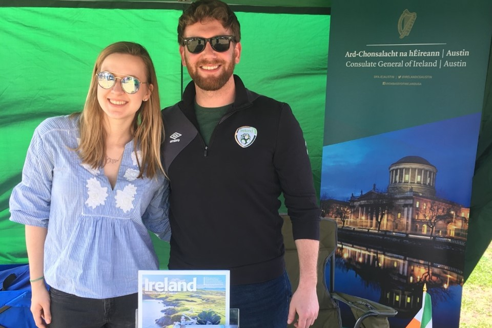Laura and Robert from the Irish Consulate at the St Patrick's Day Festival in Austin, Texas on 17 March, 2019.