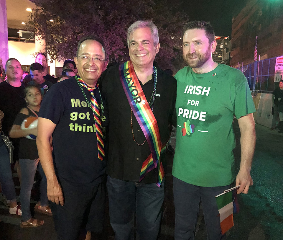 Consul General Adrian Farrell with Mexican Consul General González Gutiérrez and Mayor of the City of Austin Steve Adler at Austin Pride 2018.
