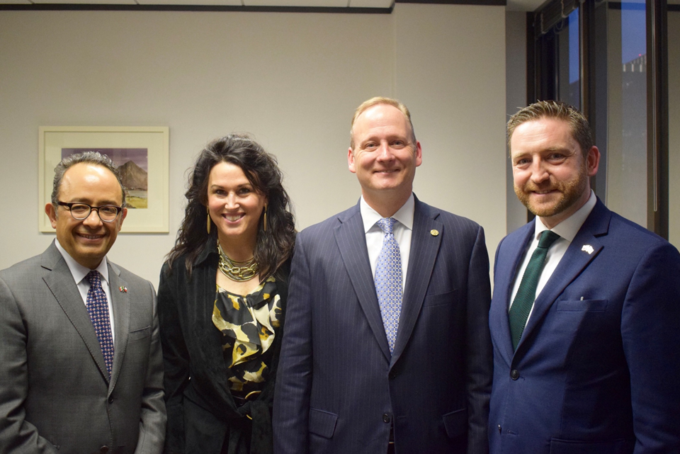 Carlos González Gutiérrez, Consul General of Mexico; Karen Price; Representative Four Price; and Adrian Farrell, Consul General of Ireland at the 86th Texas Legislative Session reception at the Irish Consulate.