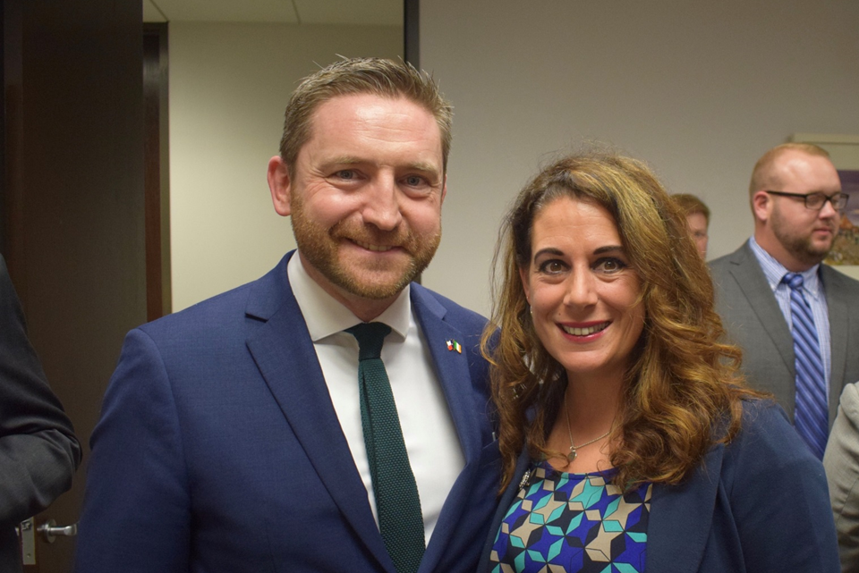 Adrian Farrell, Consul General and Representative Gina Calanni at the 86th Texas Legislative Session reception at the Irish Consulate.