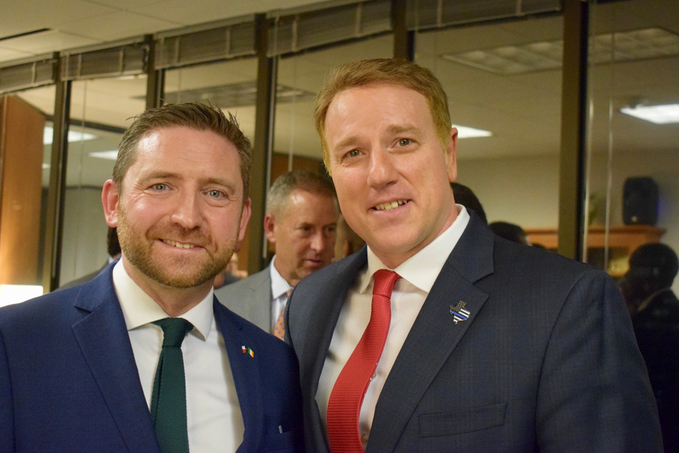 Adrian Farrell, Consul General and Senator Pat Fallon at the 86th Texas Legislative Session reception at the Irish Consulate.