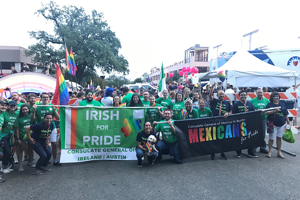 Irish for Pride group with colleagues from the Mexican Consulate at the start of Austin Pride 2018.