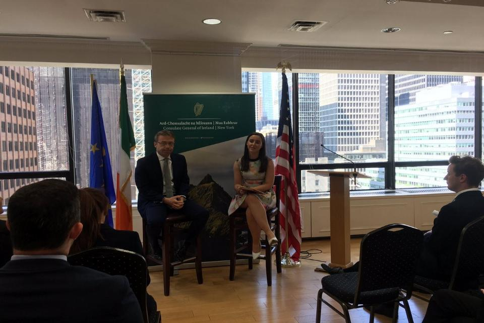 Consul General Ciarán Madden and WIP student Ellen Groom discuss the role of the Consulate and the importance of diplomacy.