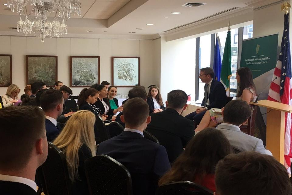 CG Ciarán Madden participates in a Q&A discussion with students from the 2019 Washington Ireland Program