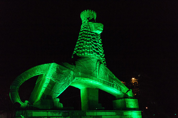 The Lion Monument goes green for St Patrick's Day