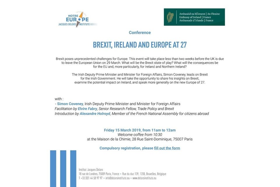 Conference on Brexit, Ireland and the EU at 27 with Tánaiste Simon Coveney, Paris, 15 March 2019