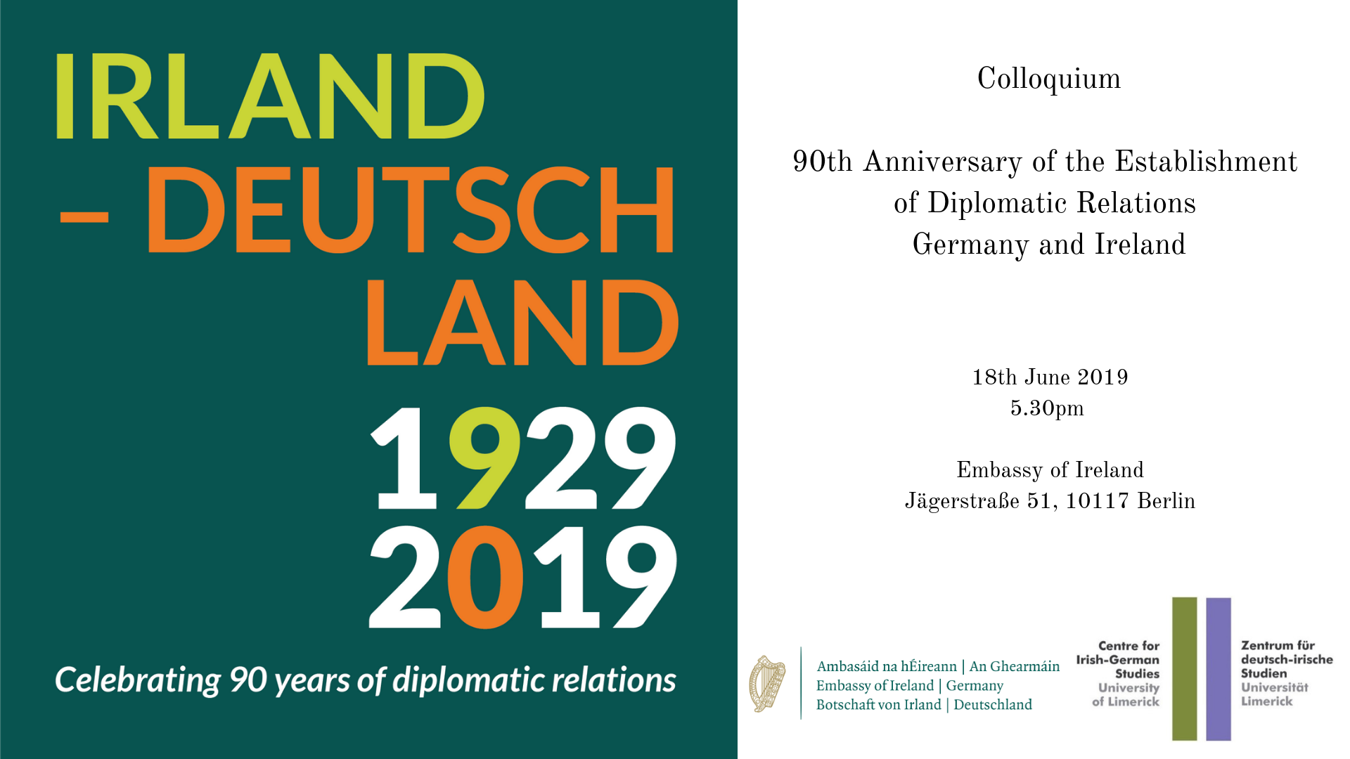 Colloquium     90th Anniversary of the Establishment of Diplomatic Relations Germany and Ireland
