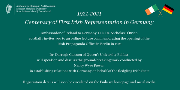 Centenary of first official Irish presence in Germany