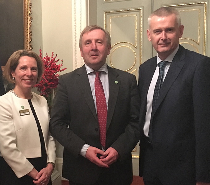 CEO of Bord Bia, Tara McCarthy;  Minister for Agriculture, Food and the Marine Michael Creed TD; Ambassador Adrian O'Neill