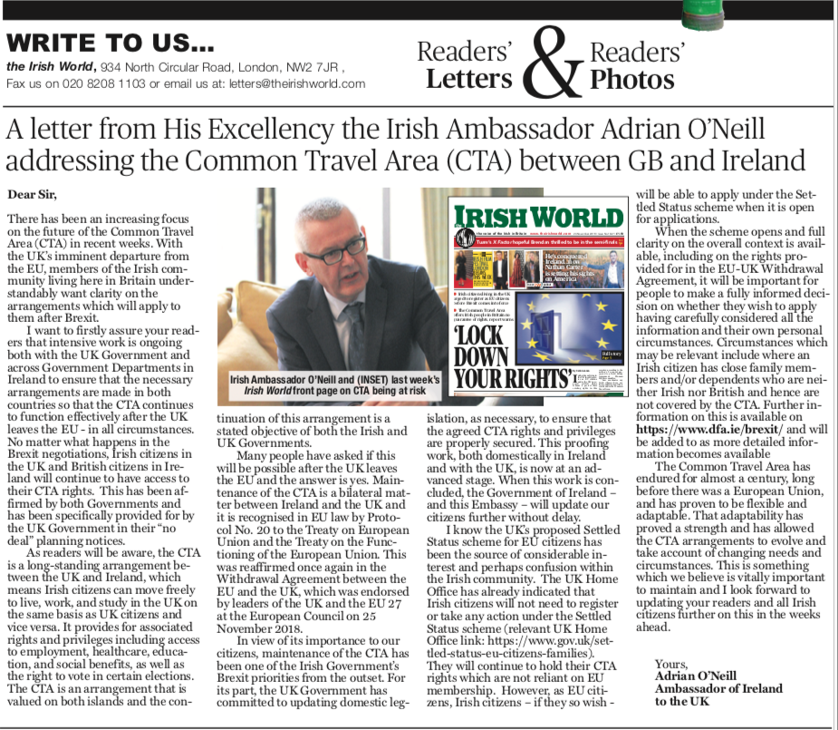 Letter from the Ambassador to The Irish World newspaper