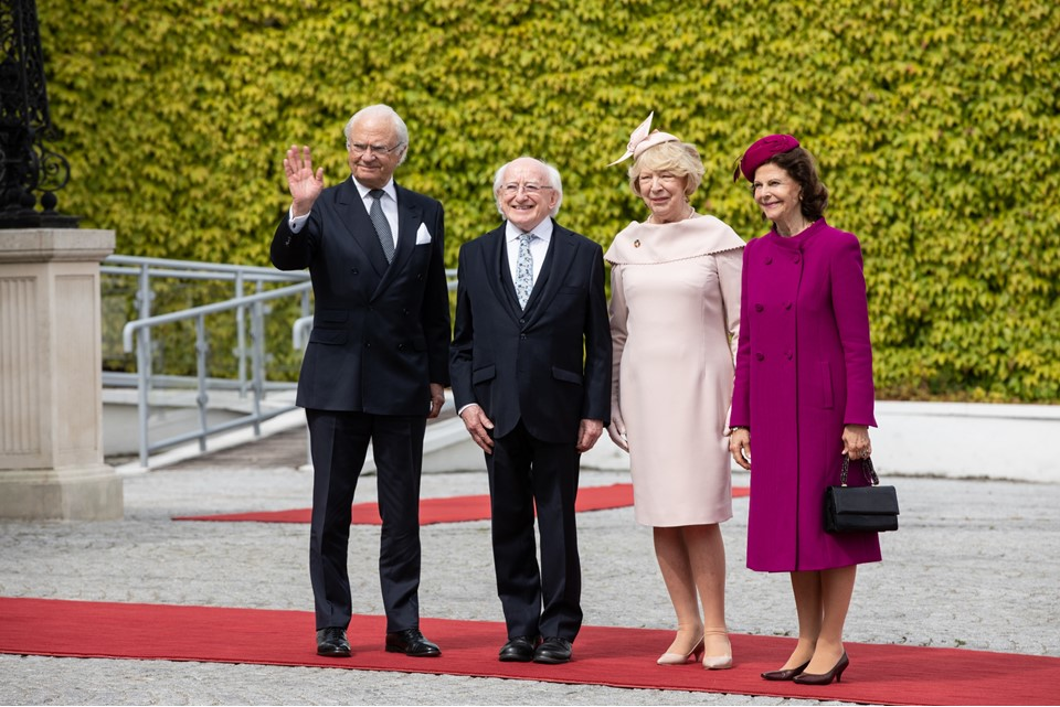 Welcome ceremony for King Carl XVI Gustaf of Sweden and Queen Silvia by President Michael D. Higgins and his wife Sabina Higgins