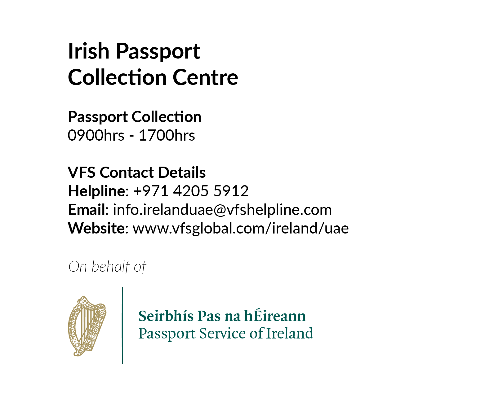 Opening of the Irish Passport Collection Centre in VFS Global, Dubai