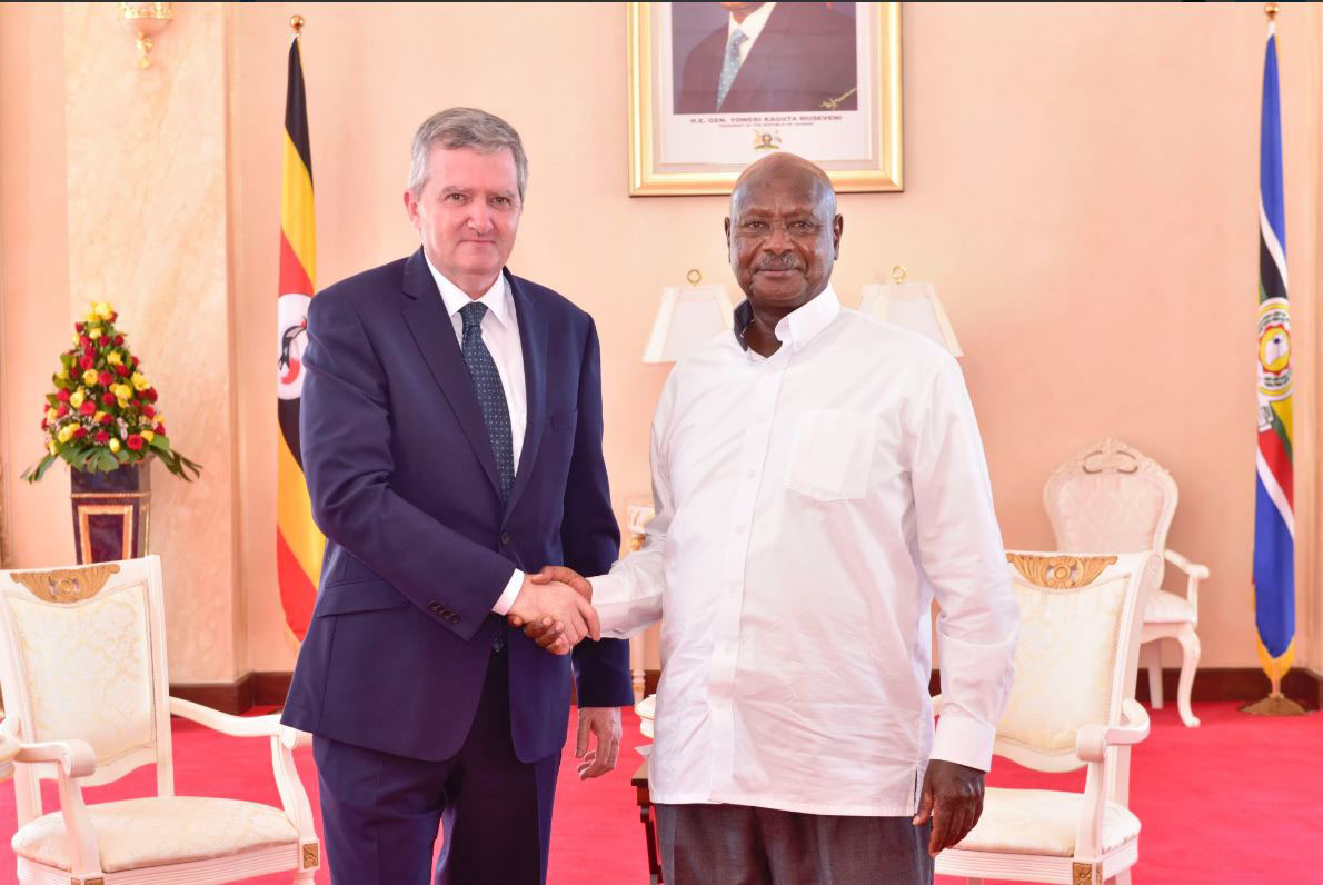 Ambassador William Carlos with President Yoweri Kaguta Museveni