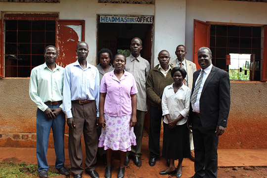 Dan Bubale (far right) with some of the teachers at the school where he was headmaster