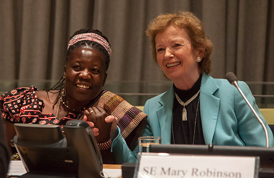 UN Special Envoy Mary Robinson with Ugandan lawyer and women's civil society leader, Lina Zedriga at panel discussion hosted by Ireland on Women and Peacebuilding in the Great Lakes region in 2013